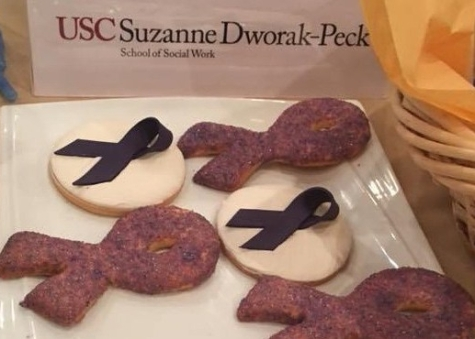 Purple ribbon cookies in honor of National Domestic Violence Awareness Month.