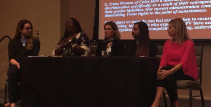 (l to r) Presenters Addison Rose Vincent, Brenda Ingram, Norma Cumpian, Devika Shankar, and Susan Hess.